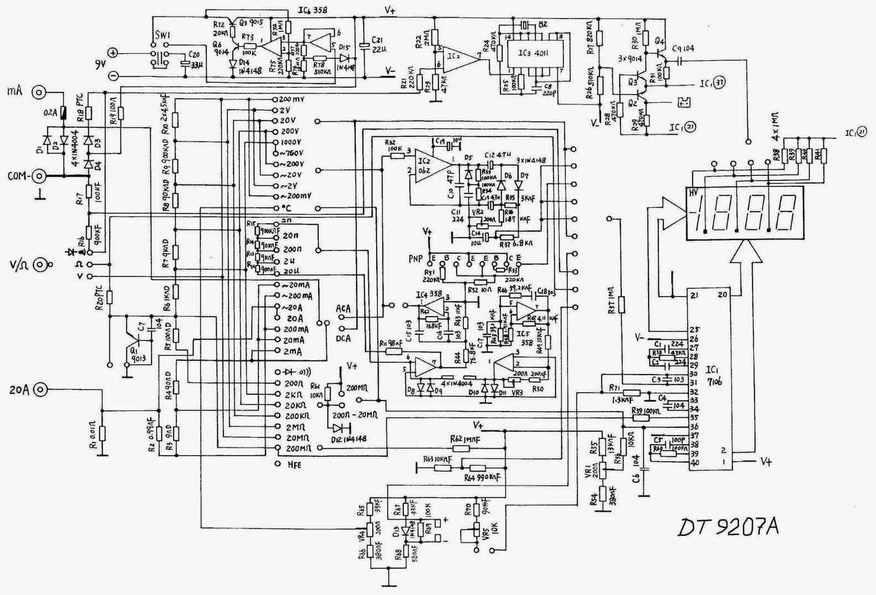 Схема мультиметра DT9207A